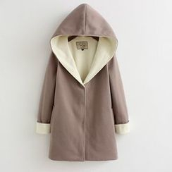Heybabe - Two-Tone Hooded Coat