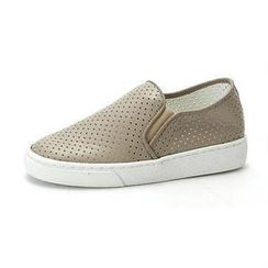 MODELSIS - Genuine-Leather Perforated Slip-Ons