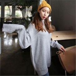 QNIGIRLS - Mock-Neck Drop-Shoulder Sweater