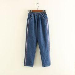 Mushi - Contrast Trim Elastic Waist Washed Jeans
