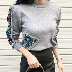 LIPHOP - Sequined Accent Round-Neck Knit Top