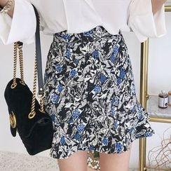 Seoul Fashion - Ruffle-Hem Floral Print Mini Skirt