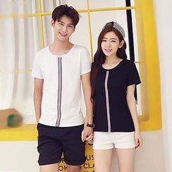 Azure - Couple Matching Stripe Short-Sleeve T-Shirt