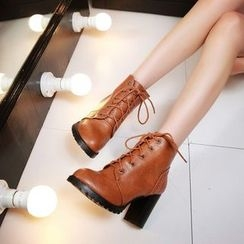 YOUIN - Chunky-Heel Lace-Up Ankle Boots