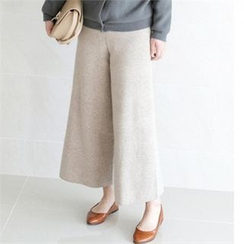 YOOM - Wool Blend Band-Waist Wide-Leg Pants