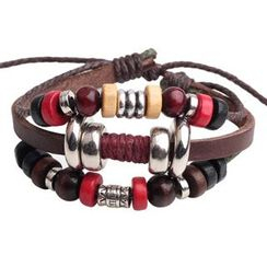 KINNO - Beaded Genuine Leather Bracelet