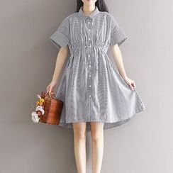 Snow Flower - Striped Short Sleeve Shirtdress
