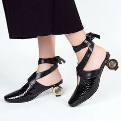 JY Shoes - Chunky Heel Lace Up Mules