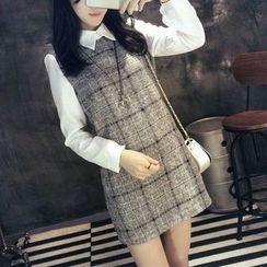 EFO - Mock Two-Piece Plaid Dress