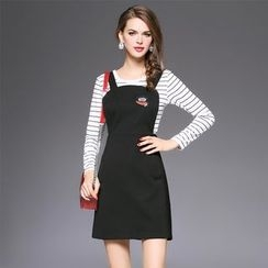 Ozipan - Set: Long-Sleeve Striped Knit Top + Applique Jumper Dress
