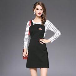 欧依潮派 - 套装: 长袖条纹针织上衣 + 贴饰背带连衣裙