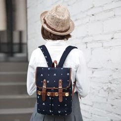 SUPER LOVER - Contrast-Trim Patterned Backpack
