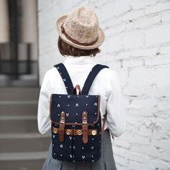 SUPER LOVER - Contrast-Trim Patterned Backpack