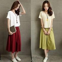 ENZA - Set: Plain Short Sleeve T-Shirt + Plain Midi Skirt