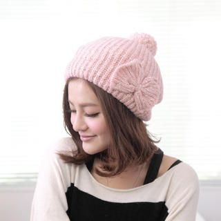 Cuteberry - Bow-Accent Knit Pom Pom Beret