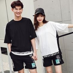 Azure - Couple Matching Mock Two-piece Short-Sleeve T-shirt / Shorts
