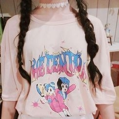 Cerauno - Cartoon Print Elbow-Sleeve T-Shirt
