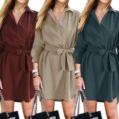 VIZZI - 純色腰結帶襯衫裙
