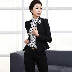 Aision - Peplum Blazer / Dotted Tie-Neck Blouse / Dress Pants