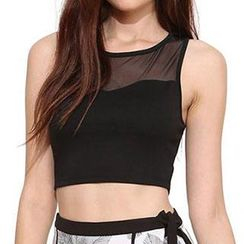 Obel - Mesh Panel Cropped Tank Top