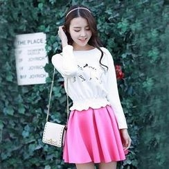 Hanee - Set: Embroidered Smocked Top + Skirt