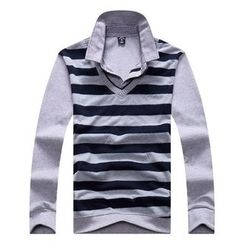 SENTA - Striped Mock Two-Piece Long Sleeve Polo Shirt
