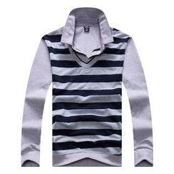 SENTA - 條紋假兩件長袖馬球襯衫