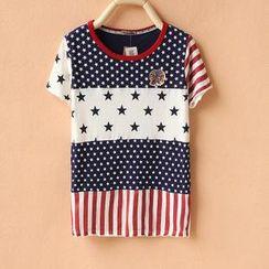 Cute Colors - Short-Sleeve Pattern Panel T-Shirt