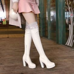 Pastel Pairs - Lace Panel Studded High Heel Over-The-Knee Boots