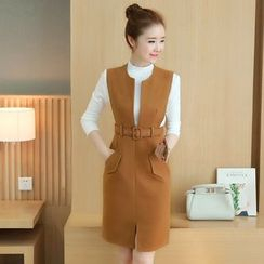 Rosehedge - Set: Plain Long Sleeve Knit Top + Woolen Pinafore Dress