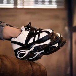 BAYO - Contrast Platform Panel Sneakers