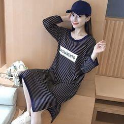 巧妮兒 - 印字貼布條紋針織連衣中裙