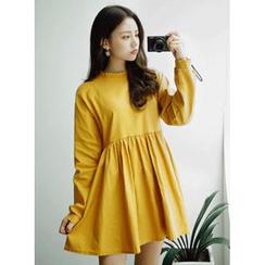 icecream12 - High-Waist Long-Sleeved Mini Dress