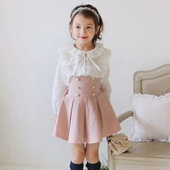 Cuckoo - Kids Double-Breasted Pinafore Dress