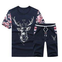 Bingham - 套装: 小鹿印花短袖T裇 + 短裤