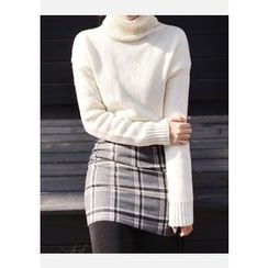 DEEPNY - Zip-Side Checked Mini Skirt