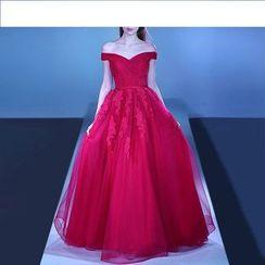 皇家尚品 - 露背蕾絲貼布繡禮服