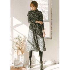 GOROKE - Frilled-Neck Floral-Pattern Midi Dress