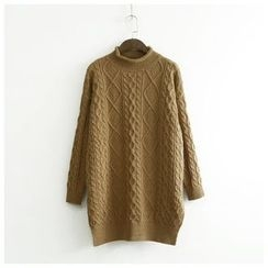 Ranche - Cable Knit Mock Neck Chunky Sweater