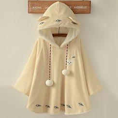 Angel Love - Ear Hooded Embroidered Cape