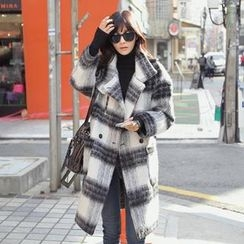 REDOPIN - Wool Blend Check Double-Breasted Coat