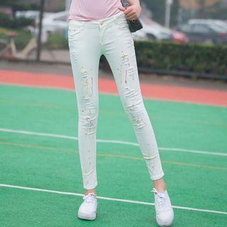Denimot - Paint Splatter Print Distressed Skinny Jeans
