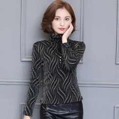 LunarS - Patterned Turtleneck Fleece-lined Top