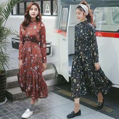 Ekim - Floral Print Long Sleeve Midi Dress