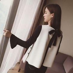 Ashlee - 套装: 喇叭袖上衣 + 蝴蝶结马甲