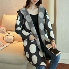 Ageha - Dotted Long Hooded Cardigan