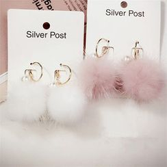 Diplet - Pompom-Accent Earrings
