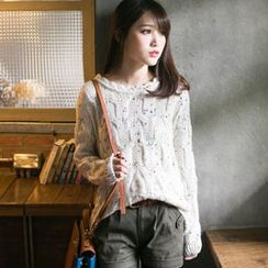 Tokyo Fashion - Scalloped-Trim Dip-Back Nubby Sweater