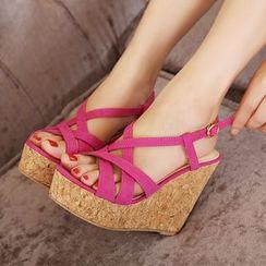 Monde - Cross Strap Platform Wedge Sandals