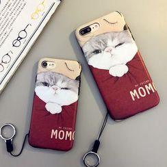 Cartoon Face - Cat Print Phone Case with Neck Strap - Apple iPhone 6 / 6 Plus / 7 / 7 Plus